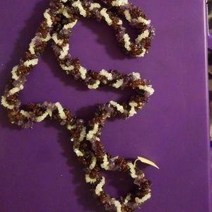 Torsade moonstone, amethyst & garnet necklace